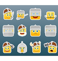 Knight smile stickers set vector