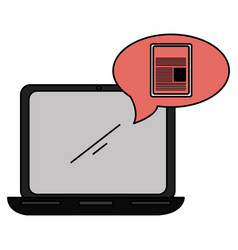 laptop with speech bubble and documents vector image