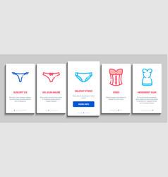 Lingerie bras panties onboarding elements icons vector