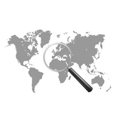 magnifying glass with world map vector image