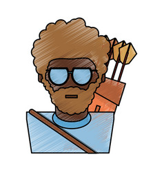 man with bow arrows vector image