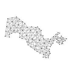 map of uzbekistan from polygonal black lines vector image