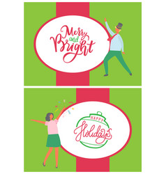 merry and bright christmas happy holidays posters vector image