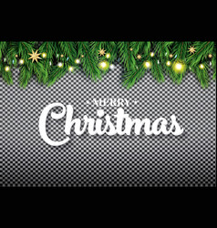merry christmas fir branch with neon lights and vector image