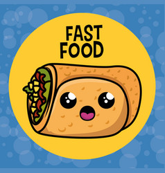 Mexican taco kawaii character vector