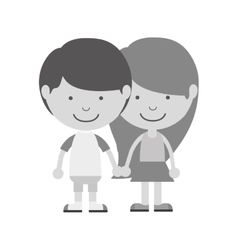 monochrome couple of children taken from the hand vector image