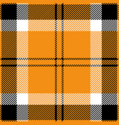 Orange black and white tartan plaid seamless patte vector