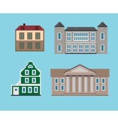 Pixel Set of Historical Houses vector