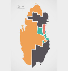 Qatar map with states and modern round shapes vector