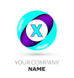 realistic letter x logo in colorful circle vector image