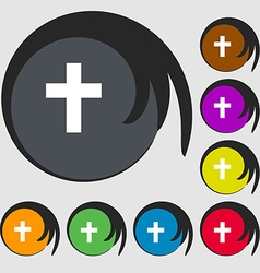Religious cross Christian icon Symbols on eight vector