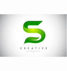 S leaf letter logo icon design in green colors vector