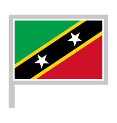 saint kitts and nevis flag on flagpole icon vector image