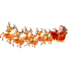 santa claus rides reindeer sleigh on christmas vector image