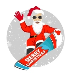 Santa claus snowboarding jumping vector