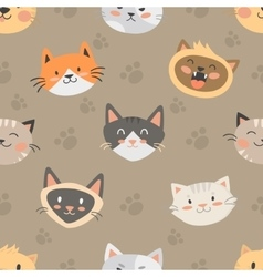 Seamless hipster cats pattern background vector