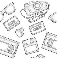 Seamless pattern retro technology object vintage vector