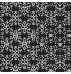 Seamless pattern with grey snowflakes on black bac vector