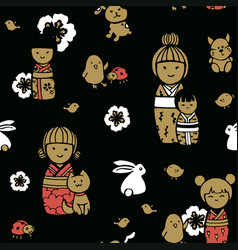 Seamless pattern with kokeshi dolls vector