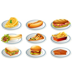 Set of fastfood on plates vector image