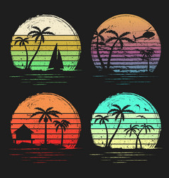 set vintage retro sunsets with palms vector image