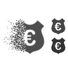 Shredded dotted halftone euro security icon vector