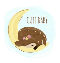 Sleep deer cartoon forest baby animal vector