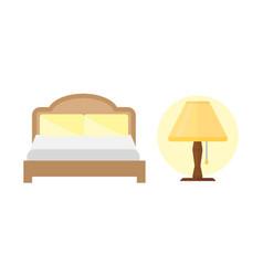 sleep icons bed set lamp set vector image