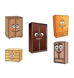 Smiling cartoon cupboards set vector image