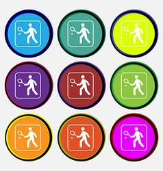 Tennis player icon sign Nine multi colored round vector image