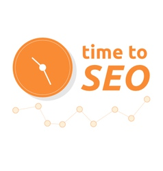 Time to SEO word combined with clock and graph vector image