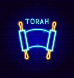 Torah neon label vector