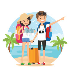Travel on the beach vector