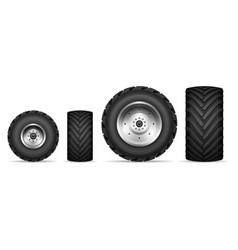 truck and tractor wheels set vector image