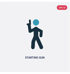 Two color starting gun icon from sports and vector