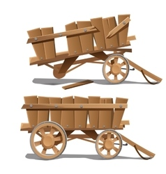 Two images of old wooden carts new and broken vector