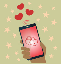 valentine sends mobile phone vector image