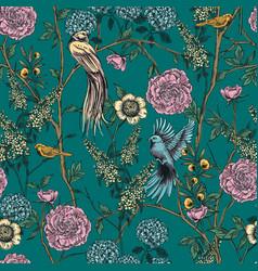 Victorian garden floral seamless pattern vector