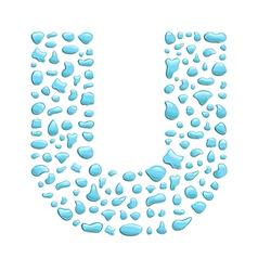 Water letter u vector