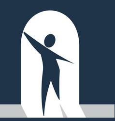 Web personage in doorway vector