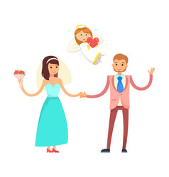 wedding couple and cupid angel bride and groom vector image