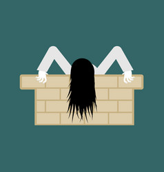 Witch zombie isolated zombie girl with long hair vector