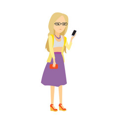 woman with mobile phone flat vector image