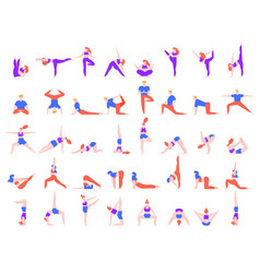 yoga poses people people doing yoga exercise vector image