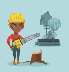 young african lumberjack holding a chainsaw vector image