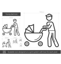Young dad line icon vector