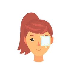 Young woman with medicine plaster patch on her eye vector