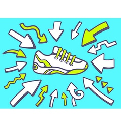 arrows point to icon of sneaker on blue vector image