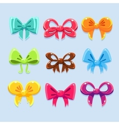 Colorful ribbons and bow ties vector image