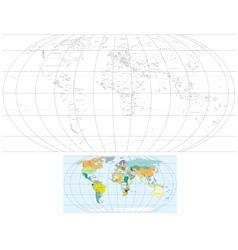 Contour World Map vector image